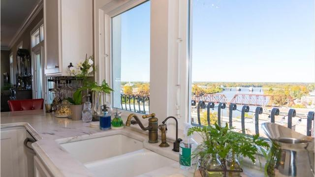 The home at 322 South Grand Street overlooks the Ouachita River and downtown Monroe from nine stories above the city.