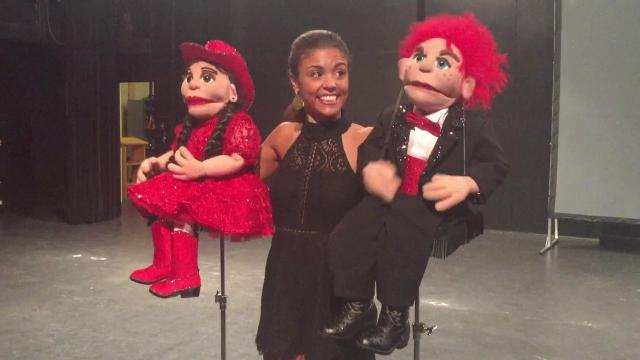 Laryssa Bonacquisti works on her showpiece for Miss America with Lucky and Lucy. She's has been practicing ventriloquism since she was 6.