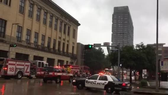 Fire erupts in downtown Houston
