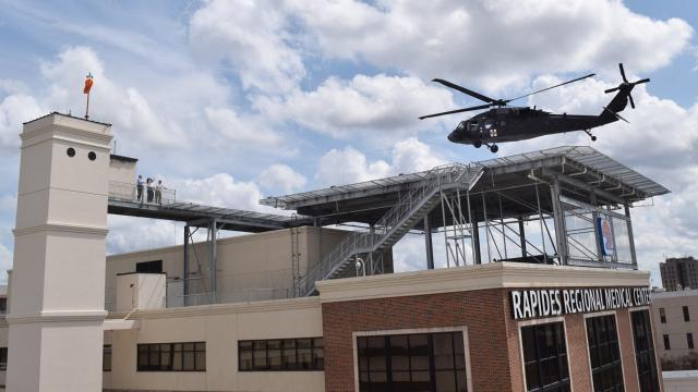 A Blackhawk helicopter flew in from Fort Polk Monday to help test out the new helipad built atop the South Tower building at Rapides Regional Medical Center.