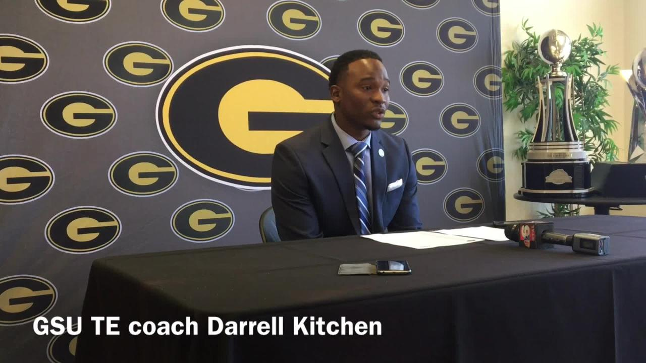 Grambling State tight ends coach Darrell Kitchen discusses why the way sophomore Quintin Guice practices led to his big performance Saturday.