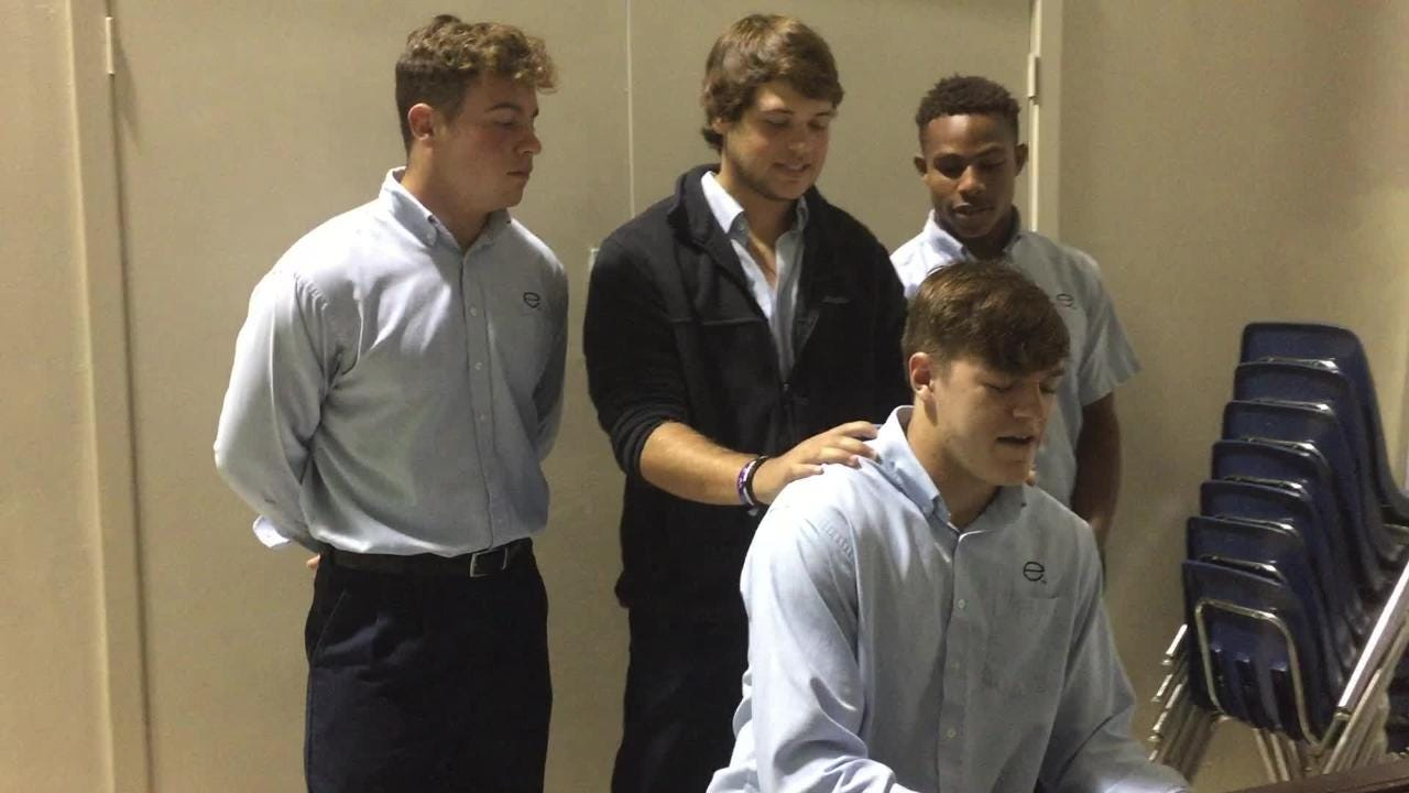 Evangel's Christian Bailiff, Wyatt Johnson, Tanner Coleman and Ar'Darius Washington perform at nursing homes.