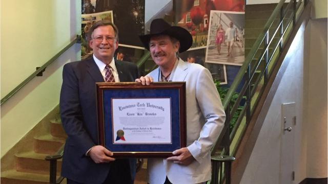 The country superstar was honored Friday with a distinguished artist in residence award. He donated memoabelia to Louisiana Tech University, which is on display in the lobby of the Howard Center for the Performing Arts.