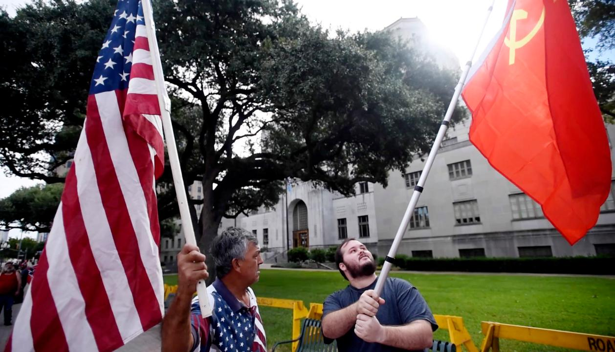 Why was the Soviet Union flag at the Confederate rally?