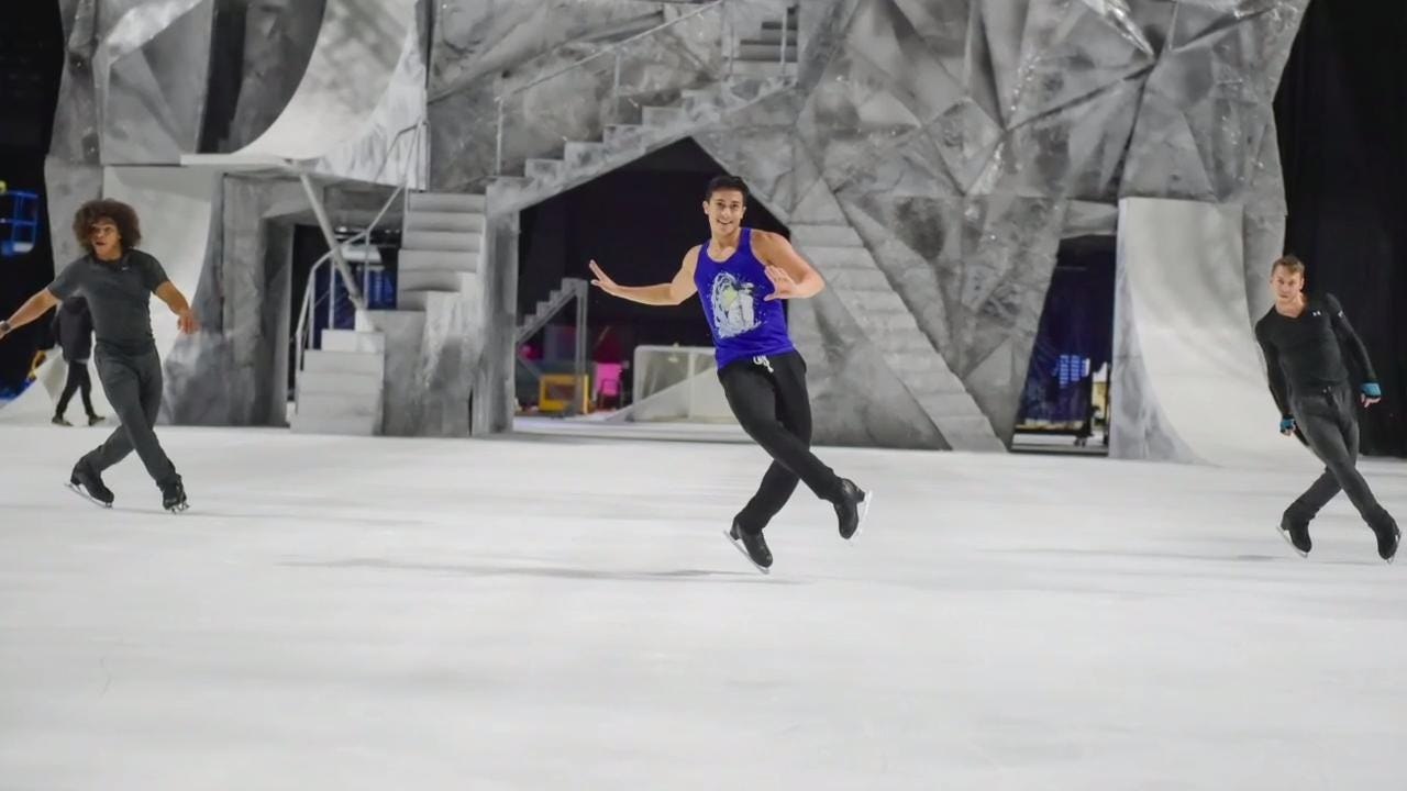 Olympic skaters Kurt Browning and Benjamin Agosto on the set of Cirque Du Soleil's Crystal at the Cajundome. Friday, Sept. 29, 2017.