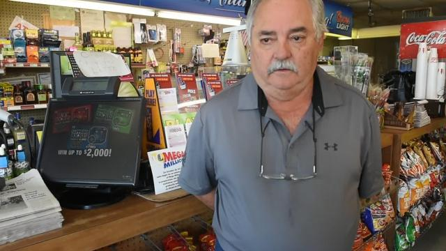 Jeff Duplechin, owner of Brownie's in Eunice, talks about the winning powerball ticket purchased at his store.