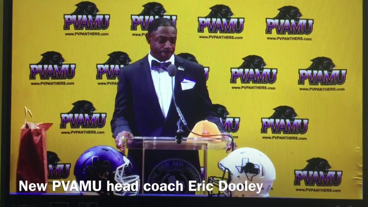 New Prairie View A&M head football coach Eric Dooley was introduced at a press conference Friday morning.