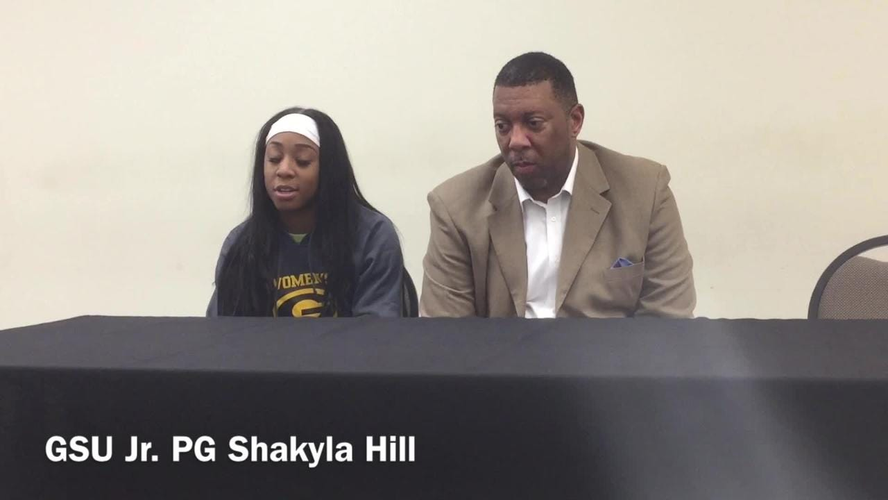 Grambling State junior point guard Shakyla Hill describes what it was like to record a rare quadruple-double against Alabama State Wednesday.