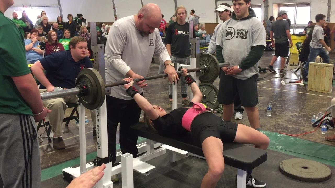 Calvary's Kailey Brookshire at powerlifting meet