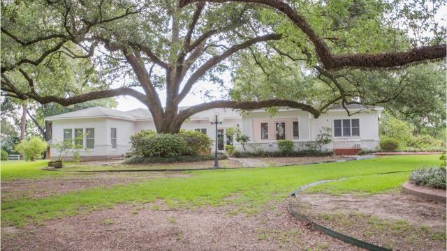 This one-of-a kind traditional stucco home is surrounded by very old, oak trees on the banks of beautiful Lake Bruin.