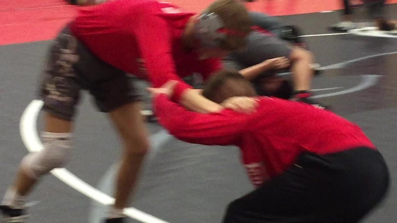 Parkway's Zach Harper wrestles with teammate Josh Keeler
