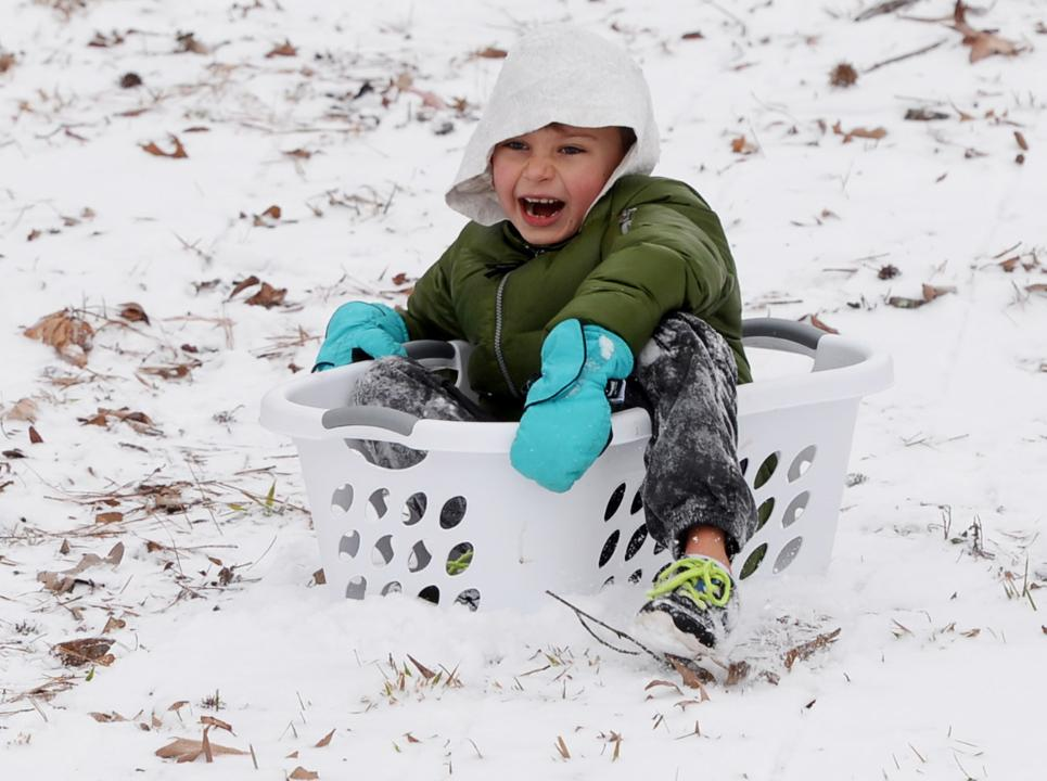 Most Louisianan's don't have sleds so we have to get creative when it does snow!