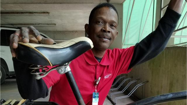 Chris Gobert, a floor tech at Lafayette General Medical Center, has used his bike for transporation for 18 years.