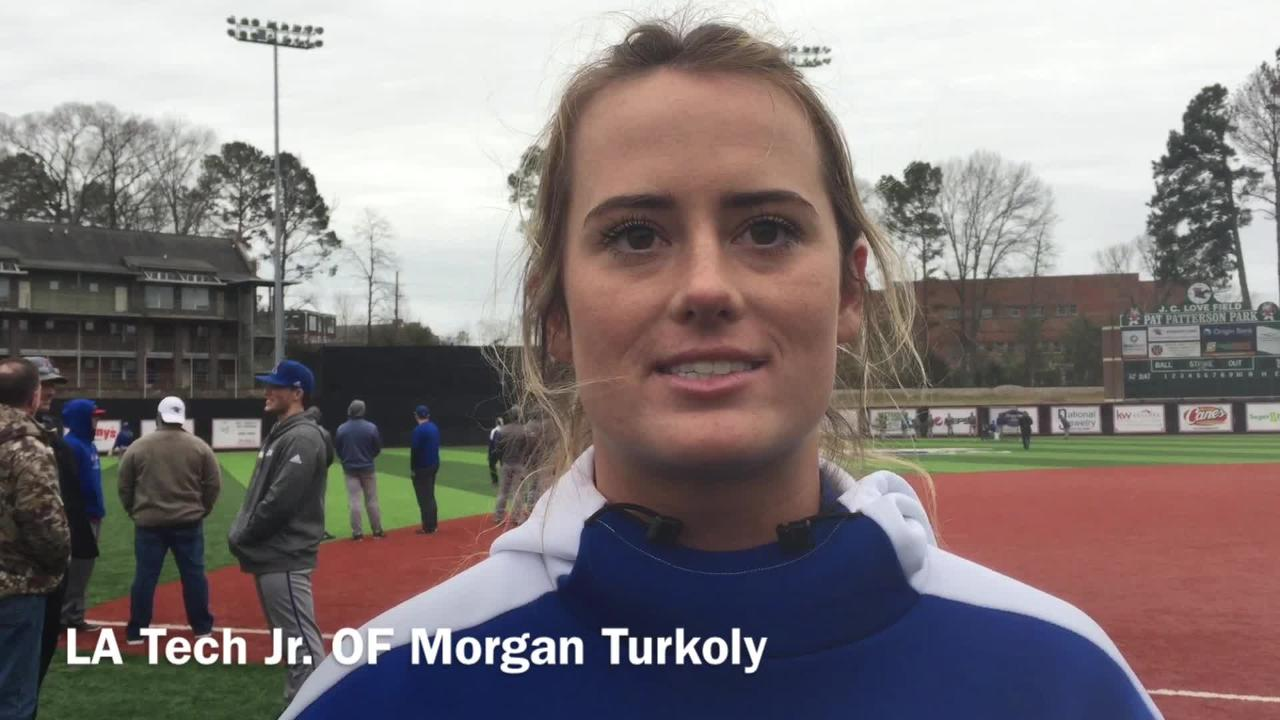 Louisiana Tech junior outfielder Morgan Turkoly gives her thoughts on whrere team is stronger this year, offense or pitching and defense.