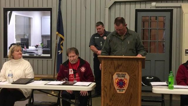 Two Tioga High School students — Daniel Carr and Kolton Mitchell — were honored Monday (Feb. 5, 2018) for spotting a house fire, calling 911 and making sure the occupants escaped before Holiday Village firefighters arrived. The house was a total loss, but the occupants and their dog survived.