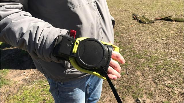 Ian Blaylock of Monroe, Louisiana, has designed a leash he says can keep pets, owners safer. Features include a wrist strap to keep it in hand, even if the dog bolts and the ability to lock the lead with a squeeze of the hand.