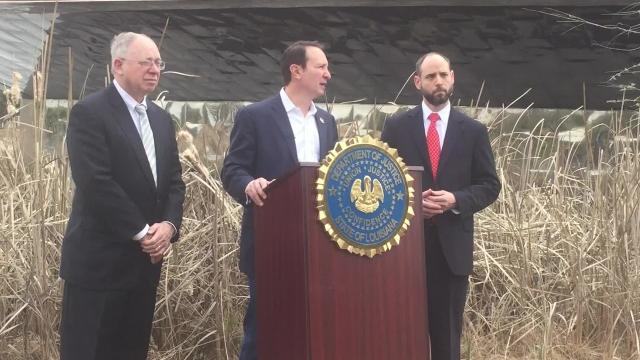 "At a press conference Friday, Feb. 9, 2018, in Lafayette, Louisiana, about coastal wetlands problems, Attorney General Jeff Landry called climate change ""a hoax."""