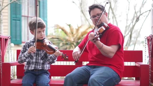 Owen Meche received fiddle tips from Brazos Huval, who owns a music school in Breaux Bridge.