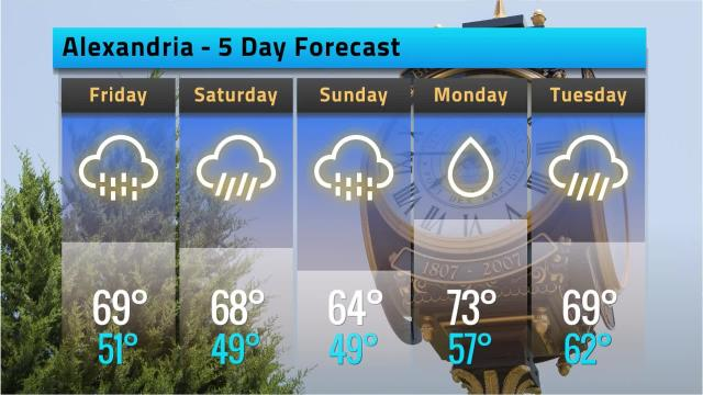 Here is your Alexandria weather forecast for Thursday, Feb. 15