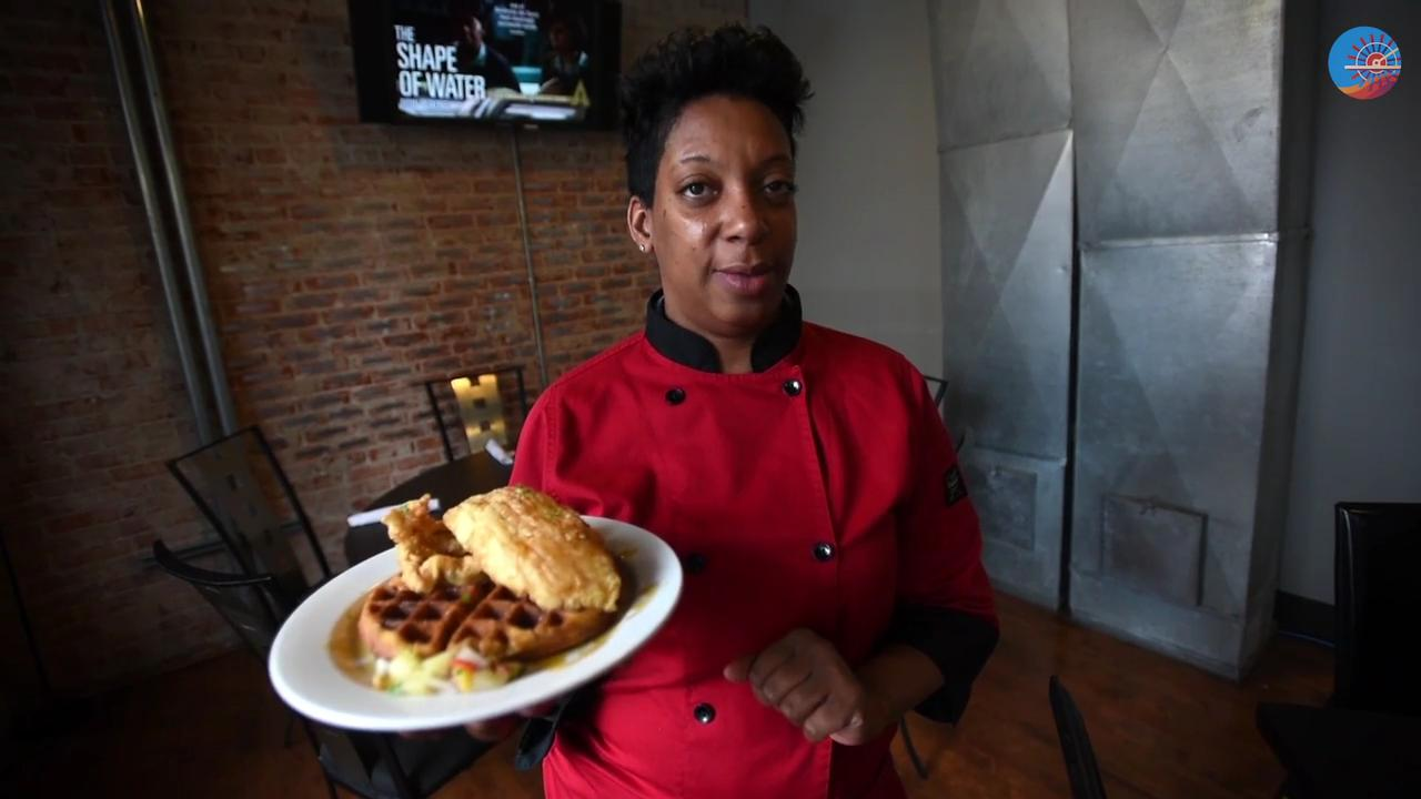 Let's talk about the Chicken and Waffles at Abby Singer's Bistro.