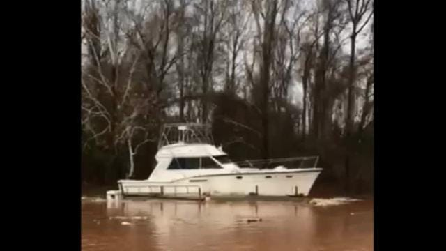Bossier Sheriff's Office deputies with the Marine Patrol crew recovered a fishing boat just after 11 a.m. Sunday after it had drifted, along with its docking, from Cash Point RV Park area around 7:30 a.m. No one was with the boat, and the owner is out of town. This is the same boat that received quite a bit of attention after it came loose and drifted from Cash Point during the 2015 flood. Marine Patrol deputies were able to tie the boat to some trees on the west side of Red River about one mile south of I-220.