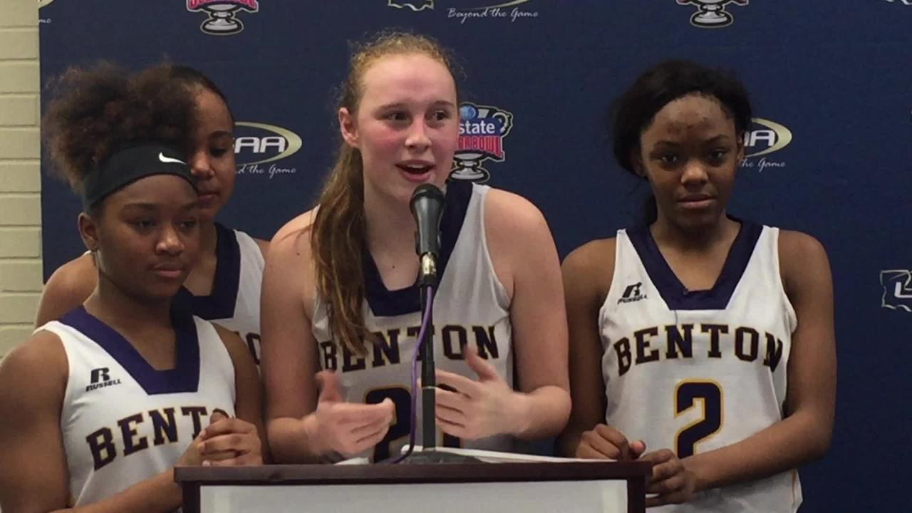 Benton's Emily Ward and friends share a laugh with the media.
