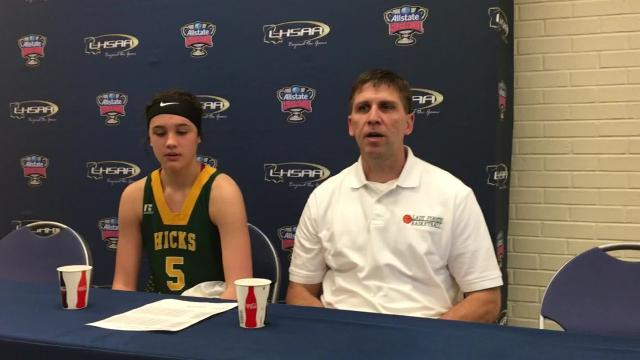 Hicks coach Michael Charrier and eighth grader Lauren Quinn talk about Wednesday's loss to Holden in the Class B semifinals.