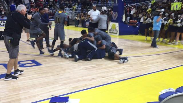 Watch the Carencro High School Basketball team and coach celebrate their Class 4A state championship victory over Woodlawn.