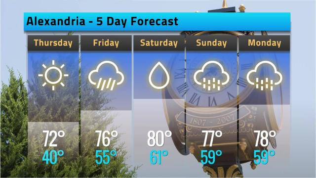 Here is your Alexandria weather forecast for Wednesday, March 14