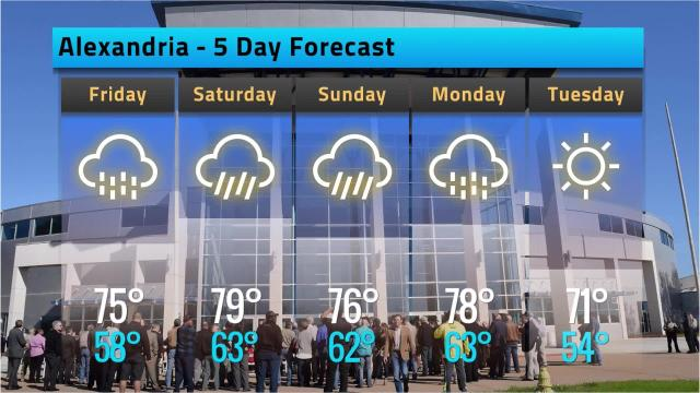 Here is your weather forecast for Alexandria for Thursday, March 15