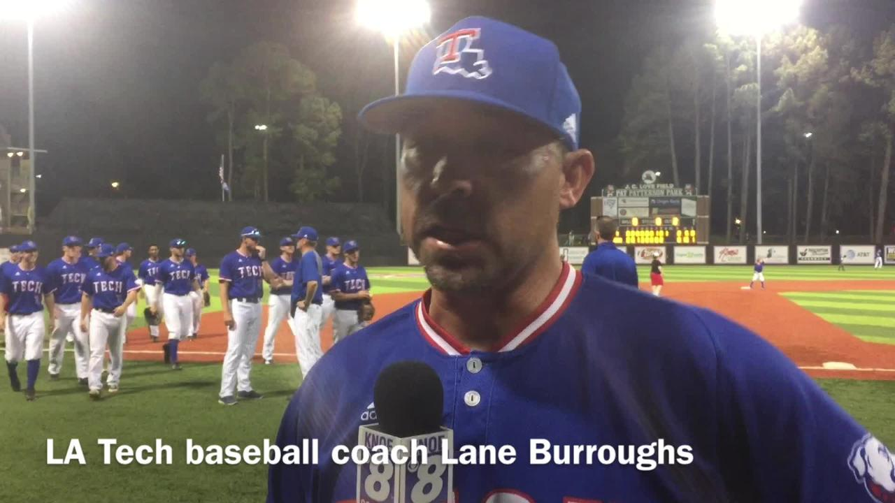 Louisiana Tech baseball coach Lane Burroughs details message to the team after its game 1 win over Rice Friday.