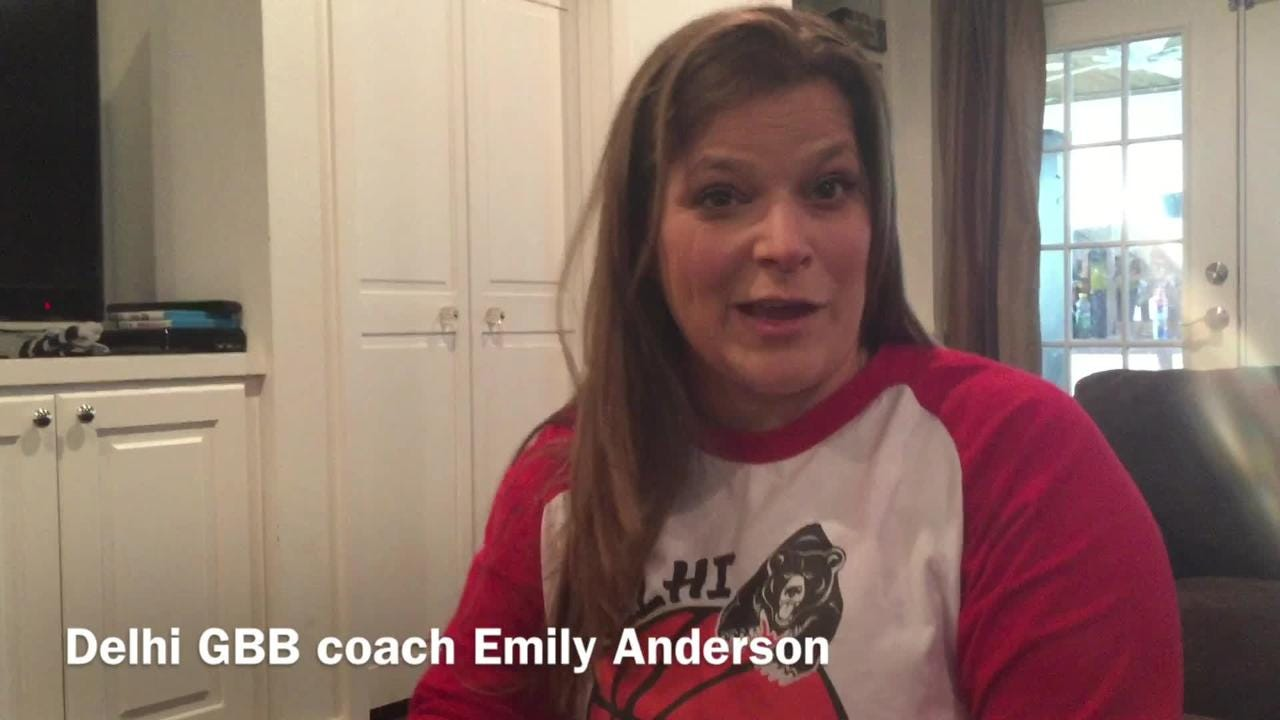 Delhi girls basketball coach Emily Anderson explains her team's mantra of 15strong.
