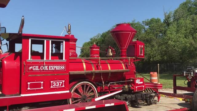 A train engine pulled backed into the Louisiana Purchase Gardens & Zoo on Thursday, April 12. Cars have been ordered, and the zoo hopes to offer the first rides on the new train by the end of July.