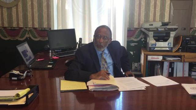 Attorney Louis G. Scott discusses the termination of Civic Center Director Charles Thomas.