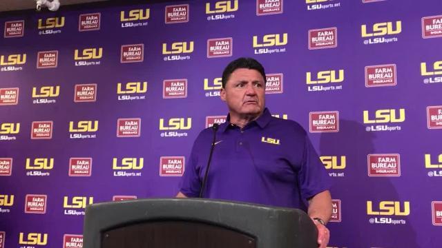 Coach Ed Orgeron reviews LSU spring game