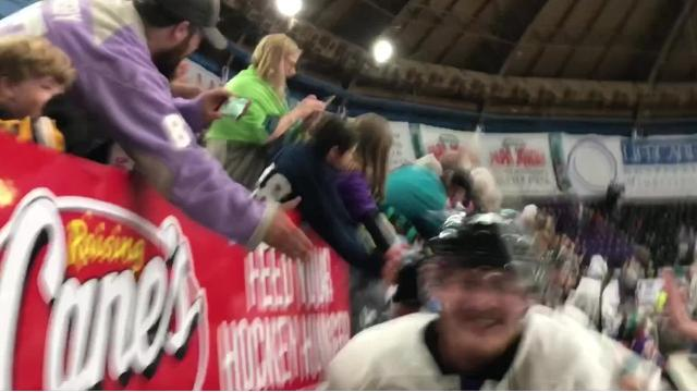 Shreveport defeated Corpus Christi, 2-1, in Game 5 of a North American Hockey League South Division semifinal and earned a berth into the next round. The victory celebration on George's Pond at Hirsch Coliseum was wild.