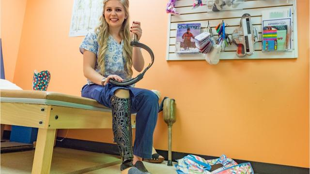 Beth Ruehl, an honor student and graduating senior at UL, helped to customize her own prosthetic leg. Ruehl enjoys an athletic lifestyle, filled with community service.