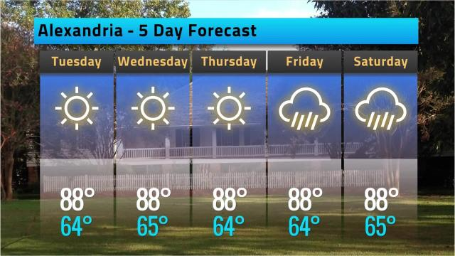 Here is your Alexandria weather forecast for Monday, May 7