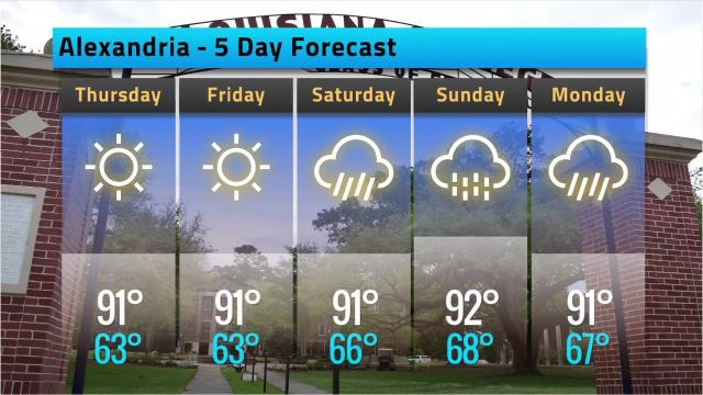 Here is your Alexandria weather forecast for Wednesday, May 9