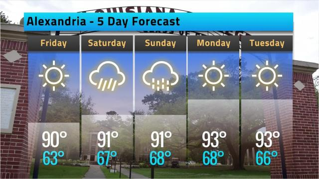 Here is your Alexandria weather forecast for Thursday, May 10