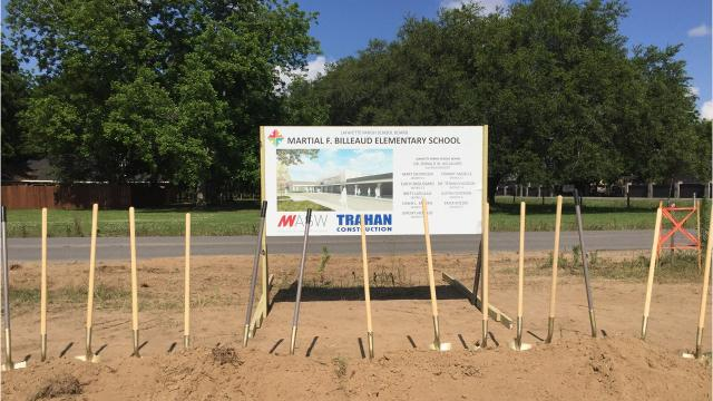 Groundbreaking ceremonies took place Thursday for Martial F. Billeaud Elementary School at the corner of Marteau and Fairfield in Broussard.