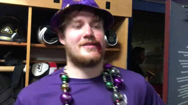 The Shreveport Mudbugs took Game 1 of a best-of-3 North American Hockey League semifinal, 2-0, against Wilkes-Barre/Scranton on Friday in Blaine, Minnesota. Mudbugs forward Jacob Holmers received the mardi gras hat and beads for his effort. He missed just 10 seconds of the third period after he needed stitches in his mouth.