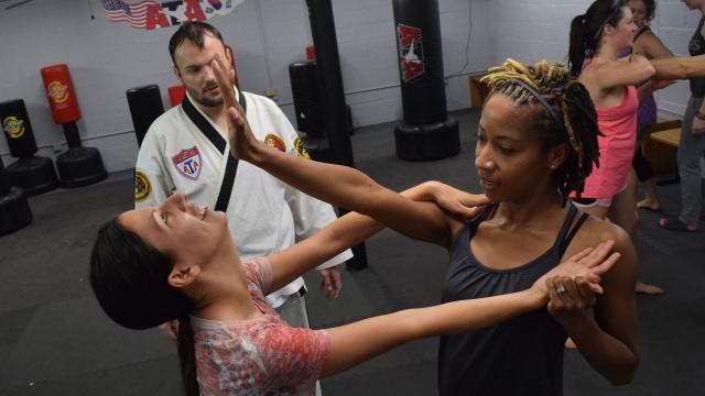 Carol Rousseau, owner of Master Rousseau's Taekwondo, hosted a free women's self-defense workshop for about 30 women Saturday in honor of Mother's Day.