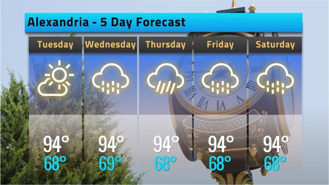 Here is your Alexandria weather forecast for Monday, March 14