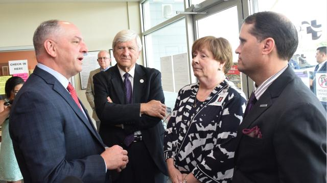 Gov. John Bel Edwards toured Christus Community Clinic on South MacArthur Drive in Alexandria and the new facility that will house the Huey P. Long Urgent Care Clinic in Pineville Tuesday during a visit to Central Louisiana