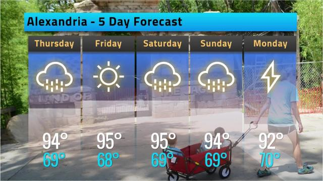 Here is your Alexandria weather forecast for Wednesday, May 16