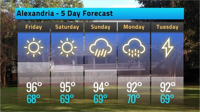 Here is your Alexandria weather forecast for Thursday, May 17