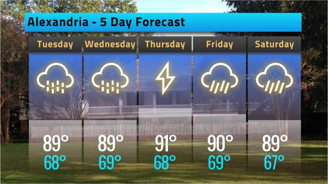 Here is your Alexandria weather forecast for Monday, May 21