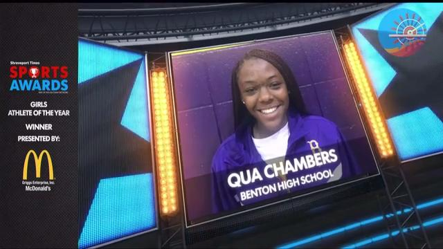 Qua Chambers is a student at Benton High School. The Shreveport Times recognized Chambers at the 2018 Sports Awards.