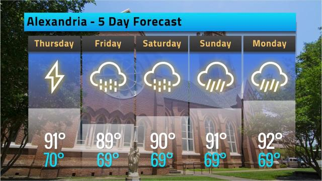 Here is your Alexandria weather forecast for Wednesday, May 23